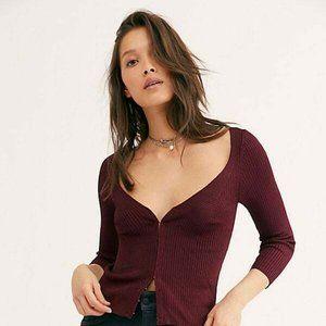 free people intimately Red hook & eye sweater SZ M